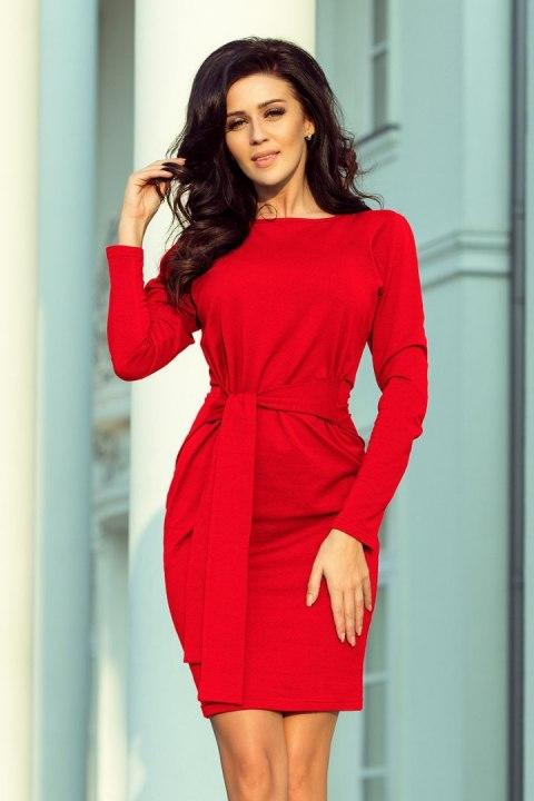 209 6 Sukienka z szerokim wiązanym PASKIEM CZERWONA